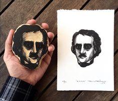"""Edgar Allan Poe"" Xilogravura/Woodcut 15 x 21 cm Stamp Printing, Screen Printing, Linolium, Linocut Prints, Art Prints, Block Prints, Lino Art, Etching Prints, Collage Techniques"