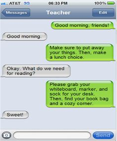Create fake text conversations. Could easily use this fun way to create reminders or for a warm-up activity with bad grammar that they have to fix.   The Brown-Bag Teacher: So text me maybe...