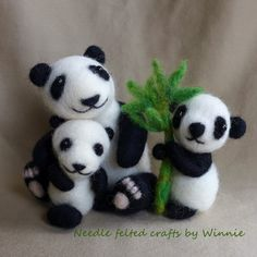 Needle felted Panda Mama and children set of 3 by FunFeltByWinnie, $148.00