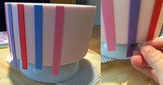 Royal Bakery It's Top Tip Tuesday! If I want to ensure vertical stripes are flush with the top and bottom of my tier, I raise the tier up on something like an upturned cereal bowl. I Use non-slip shelf-liner to keep everything in place. I roll my fondant out super thin and leave it to dry for about 30 minutes. Then I cut stripes using a scalpel. I use a real surgical scalpel rather than a craft knife like an X-acto because it's just so much sharper! No dragging and they're SO cheap. I've ...