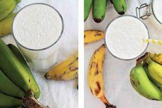 Nos últimos dias tenho recebido muita fruta biológica da família e amigos. Estas bananas trazidas directamente da Madeira cá para casa, para mim são as melhores e mais saborosas bananas do mundo! Dentro de um invólucro tacanho e tosco, são famosas pelo seu pelo seu sabor doce e suculento. Decidi juntá-las a um leite de côco gelado e adicionar um pouco do mesmo ralado.