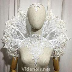 #vampire #bridal #white #set #lace #elizabethan #halloween #bride #wedding #goth #gothic #shoulderpiece #lucy #handmade