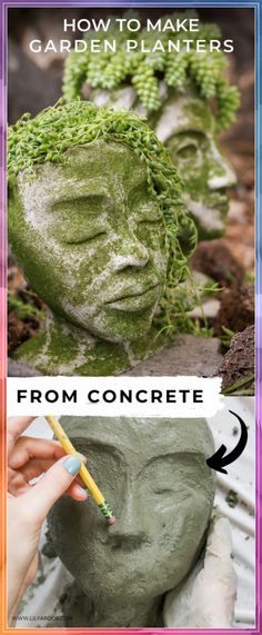 DIY Concrete Head Planters - Planters - Ideas of Planters . DIY Concrete Head Planters - Planters - Ideas of Planters - Heres how to make your own head planters! Its really easy and quick! Perfect for your garden! Diy Concrete Planters, Head Planters, Concrete Garden, Diy Planters, Garden Planters, Planter Ideas, Diy Garden Projects, Garden Crafts, Diy Garden Decor