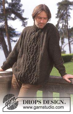 DROPS Men's sweater in Karisma Ull Tweed