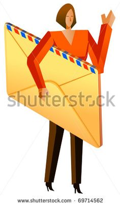 business woman holding envelope - stock vector