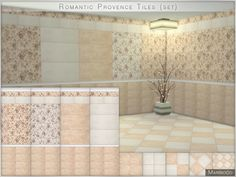Tiles in a romantic provence style contains 4 wall + 5 floor different variations. Found in TSR Category 'Sims 4 Sets'