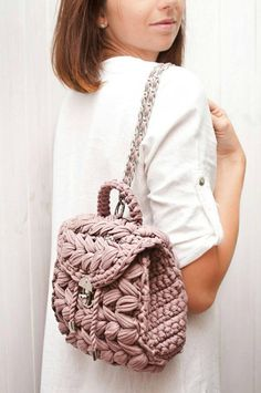 """Pink backpack crochet small bag sister gift t shirt yarn shoulder purse dusty rose accessory summer backpack travel casual purse bohoCROCHET PATTERN video tutorial """"Backpack a tiny Marshmallow"""" Complete and detailed video-description of the whole Crochet Backpack, Backpack Pattern, Mini Backpack, Small Backpack, Backpack Purse, Crochet Handbags, Crochet Purses, Crochet Bags, Crochet Gifts"""