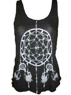 Dreamcatcher Native American Art Tank T-shirt Ladies American Apparel M  (Tri-Black). $20.00, via Etsy.