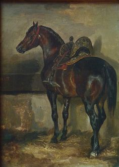Théodore Géricault Cheval turc dans une écurie / Turkish horse in a… Painted Horses, Horse Drawings, Animal Drawings, Horse Sketch, Horse Artwork, Horse Portrait, Equine Art, Animal Paintings, Horse Paintings