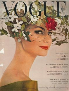 Cover of Vogue from February 1960 featuring a very flowery hat!