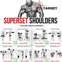 (Swipe Left) Complete 6 days a week superset workout plan!✅ Monday Chest Tuesday Back Wednesday Shoulders Thursday Legs Friday Arms Saturday Abs Sunday Rest Enhance your progre is part of Shoulder workout - Fitness Workouts, Weight Training Workouts, Gym Workout Tips, Fitness Tips, Week Workout, Back Superset Workout, Deltoid Workout, Tuesday Workout, Traps Workout