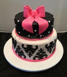 Damask and polka dot cake, black white and hot pink