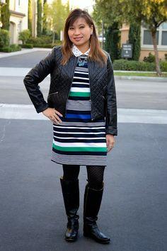 Stripe Dress with Jeweled Collar