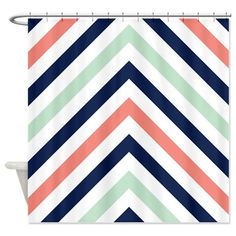 navy and coral shower curtain. Chevron Shower Curtain Modern Navy  Mint Coral White Stripes Or Customize Colors Standard Extra Long Sizes Custom Teen Preppy Home Decor Bathroom Teal And Upstairs Bathrooms