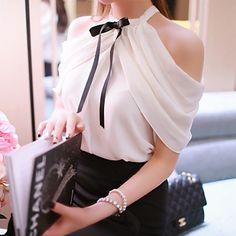 Women's Solid White Blouse Sleeveless Mesh 2015 – $26.40