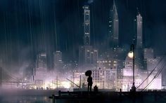 Rainy city at night wallpaper