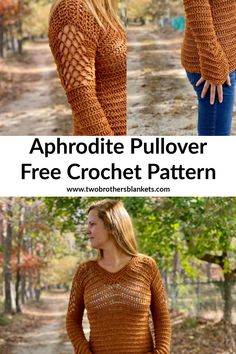 Aphrodite Pullover Free Crochet Pattern - Two Brothers Blankets The Aphrodite Pullover crochet pattern is a lovely fall top with gorgeous details in the sleeves and neckline! Crochet Shirt, Crochet Yarn, Free Crochet, Crochet Sweaters, Crochet Tops, Tunisian Crochet, Crochet Style, Beginner Crochet, Crochet Cardigan