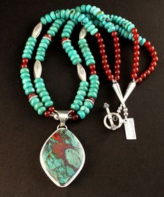 Sonora Sunset and Sterling Silver Pendant with 2 Strands of Turquoise Rondelles, Carnelian Rounds and Ornate Sterling Silver