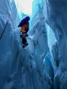 Me getting pulled out of the crevasse by the rescue team