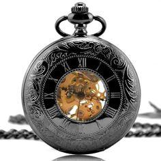 Vantasy Antique Roman Half Hunter Black Tungsten Steel Skeleton Hand Wind Mechanical Pocket Watch Long Chain Necklace Value Quality $13.98