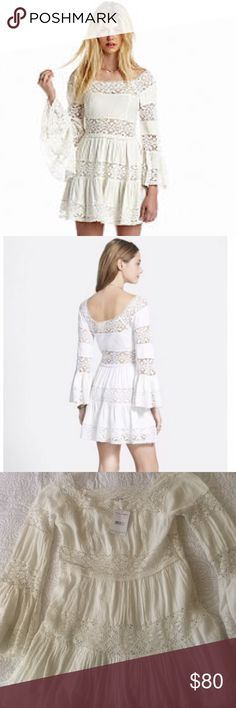 Brand new Free People dress Gorgeous Free People gauze dress,the pictures din't do the justice,it has beautiful crochet details and it is lined. The color is ivory,last picture is actual item and true color. Brand new with tags. Free People Dresses Mini