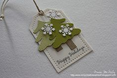 Cardstock: Vintage Cream, Spring Moss, Simply Chartreuse, Kraft, White (PTI) Stamps: Holly Jolly (Lil' Inkers Deasigns) Dies: Tag Sale Winter Penguins Ink: Black (Memento) Other: jute 25 Days Of Christmas, Christmas Paper, Christmas Wrapping, Handmade Christmas, Christmas Crafts, Christmas Trees, Holiday Tree, Merry Christmas, Holiday Gift Tags