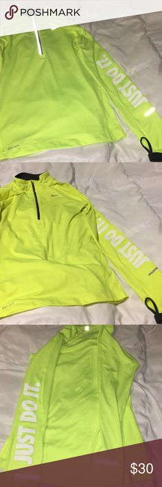 Nike Running Element Dri-Fit Extra Small Neon XS Flawless pre-owned condition. Barely worn. Any light stains can be easily washed. Neon yellow / green with dark gray lining. White lettering. Fits comfortably. Nike Tops Sweatshirts & Hoodies