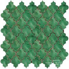 12x12 Mesh Mounted Mamounia Ceramic Tile 3x4 Mosaic - Herbal Green