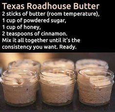 Make and share this Texas Roadhouse Butter recipe from Genius Kitchen. Make and share this Texas Roadhouse Butter recipe from Genius Kitchen. Texas Roadhouse Butter, Texas Roadhouse Rolls, Texas Roadhouse Recipes, Texas Roadhouse Steak Seasoning, Texas Roadhouse Sweet Potato Recipe, Think Food, Love Food, Bon Dessert, Dessert Recipes