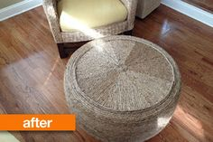 Recycling an old tire you can create a new ottoman. Cleaning very well, wrap it with rope and super glue or silicone gun and install legs and it's ready to be used.What a genius idea!