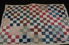 Antique Quilt Postage Stamp Patchwork Doll Quilt Very Nice Calicos Early Blue Back Pennsylvania Doll