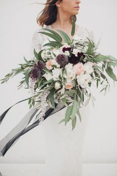 Oversized Wedding Bouquet With Plum Colour Accents And Silk Ribbon - Alexandra Grecco Bridal For A Minimalist Wedding Inspiration Shoot at Masseria Moroseta Puglia With Plum Colour Accents Styling by In The Mood For Love Weddings And Images by Melissa Gidney Photography