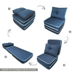 Puff que vira cama util no metodo montessoriano Chair Bed, Sofa Bed, Daybed, Murphy Bed Ikea, Kids Boutique, New Gadgets, Chair Upholstery, Cool Chairs, Folding Chair