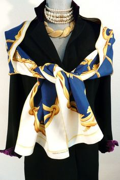 Authentic Vintage Hermes Silk Echarpe Opera Scarf Crown Rare Blue and White