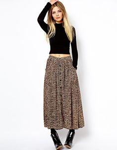 Image 1 ofAmerican Apparel Leopard Print Maxi Skirt