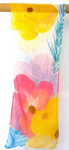 Silk Scarf Hand Painted, Spring Garden Flowers Scarf. Handmade Silk Scarf. Yellow Silk Scarf. Silk Chiffon. Silk Scarves Takuyo. 10x54 in.. $38.50, via Etsy.