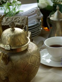 traditional Indian brass tea and coffee pots ... a bit of exotica ... :)
