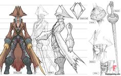 A drawing of an anime pirate with lines that show the height. The lines are used to help place the aspects of the pirate.
