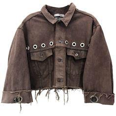 EYELET FRAYED DENIM JACKET (455 NZD) ❤ liked on Polyvore featuring outerwear, jackets, denim jacket, brown denim jacket, brown jacket, eyelet jacket and brown jean jacket