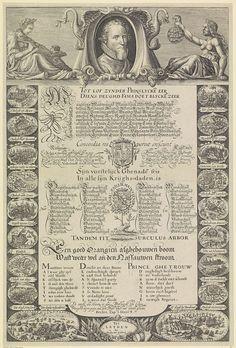 Nicolaes van Geelkercken | Portret van Maurits, prins van Oranje, Nicolaes van Geelkercken, 1612 | Portret van Maurits in een ovaal als hoofd van een lijst met veroveringen en veldslagen. In het midden een aantal kolommen met Nederlandse tekst, zijn wapen, de Oranjeboom met zijn lijfspreuk en zijn geslachtsspreuk. Rondom 18 medaillons met elk op een banderol de naam van de verovering of veldslag.