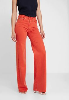 LOIS Jeans PALAZZO - Straight leg jeans - flame for Free delivery for orders over Palazzo, Lois Jeans, Wide Jeans, Pocket Pattern, Fabric Material, Mannequin, Colored Jeans, Diesel, Indigo