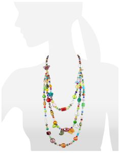 Antica Murrina Brio - Triple-Strand Multicolor Murano Glass Bead Necklace at FORZIERI
