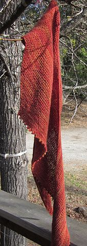 Be Simple is an asymmetrical, triangular shawl that is simple to knit and simple to wear. It is knit in simple garter stitch with a picot bind-off on one side.