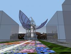 Organograph is a 75-foot-tall solar-powered kinetic flower sculpture that invites the public to observe, investigate, and respond to the processes of climate change