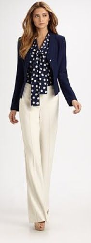Outfit Posts: Bottom: Navy Tie Front Top, Black suit jacket and Cream Wide Leg Pants.