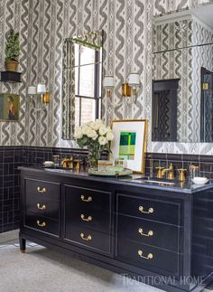 """With its toe caps and Emtek drawer hardware, the vanity is like a piece of furniture,"" designer Kevin Walsh says. It's painted semigloss ""Black by Benjamin Moore. Decor Interior Design, Furniture Design, Interior Decorating, Best Bathroom Vanities, Painted Drawers, Drawer Hardware, Southern Homes, Southern Style, Bathroom Inspiration"