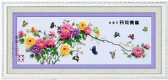 Clear Natural Beautiful Flower And Butterfly Silk Ribbon Embroidery Hand Made Cross Stitch Kits+Free Shipping $58.00