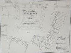 Afmeting: 19,3 x 25,5 cm. Conditie: uitstekend. Brede marges. Verso: blank. Titel in het midden. Rechtsonder een legenda. Betreft een verkleinde weergave van het ontworpen plan door bouwmeester Rombout van Meghelen in de tweede helft van de 16e eeuw. Hij ontwierp het plan, waarnaar Karel V in 1528 het slot Vredenburg te Utrecht stichtte. Dit plan ligt bewaard in het provinciaal Archief te Utrecht. Lithografie, uitgegeven te Utrecht in 1845 door F.W. v.d. Weyer in ' Geschiedk. en ...