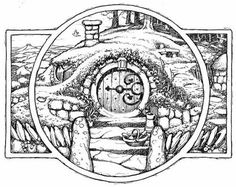 """""""In a hole in the ground there lived a hobbit."""" -The Hobbit (aka There and Back Again) Tolkien Tattoo, Hobbit Tattoo, Lotr Tattoo, J. R. R. Tolkien, Hobbit Door, Hobbit Art, O Hobbit, Lord Of The Rings Tattoo, Desenho Tattoo"""
