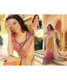 Cream ,Orange and Pink Designer Party wear Saree